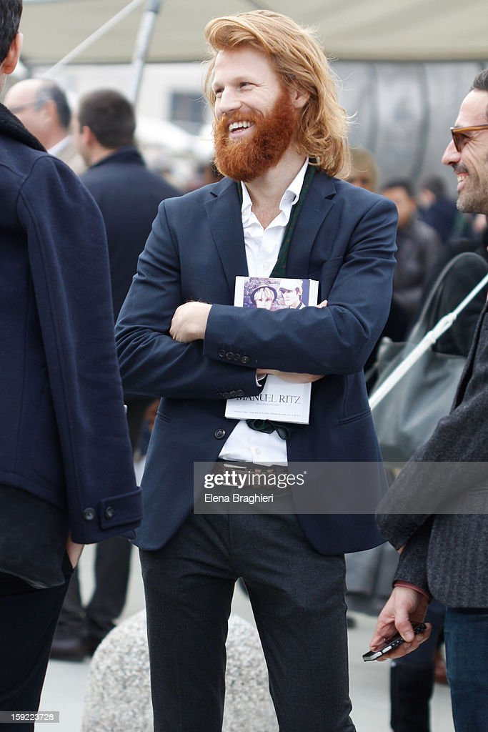Model Olivier Langhendries attends the Pitti Immagine Uomo 83 on January 9, 2013 in Florence, Italy.