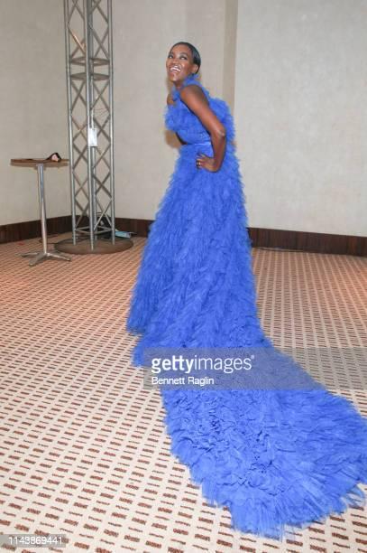 Model Oluchi poses backstage during Arise Fashion Week on April 19 2019 in Lagos Nigeria