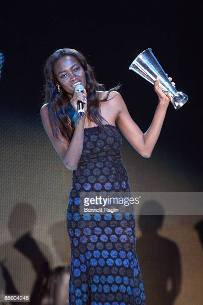 Model Oluchi receives Model of the Year award at the ARISE Africa Fashion Awards at Sandton Convention Center on June 20, 2009 in Johannesburg, South...