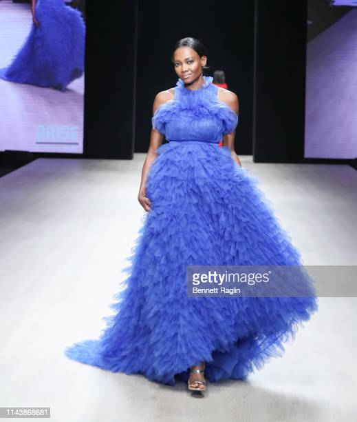 Model Oluchi walks the runway wearing Mai Atafo during Arise Fashion Week on April 19 2019 in Lagos Nigeria
