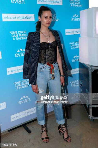 """Model Oma Sea attends the launch of Evian and Virgil Abloh's limited-edition """"One Drop can make a Rainbow"""" collection at Theatre National de..."""