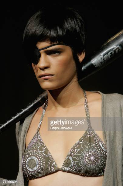 Model Omahyra Mota Garcia presents beachwear of fashion label Bogner Fire + Ice at the Global Sport Style Award 2006 at GQ Ispovision Style Night,...