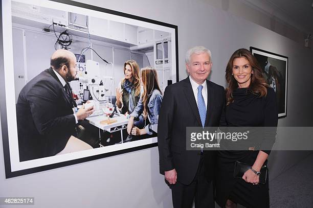 Model OMEGA Brand Ambassador Cindy Crawford and Dr Douglas R Fredrick MD attend the screening of The Hospital In The Sky presented by OMEGA at New...