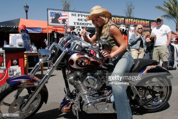 A model on a motorbike at Bike Week in Destination Daytona