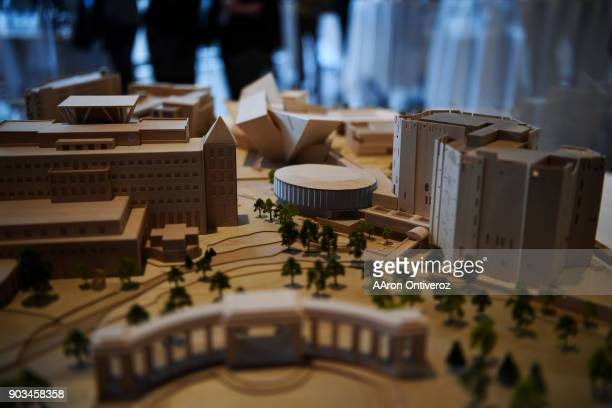 A model on display during the groundbreaking ceremony for the north addition to the Denver Art Museum on Wednesday January 10 2018