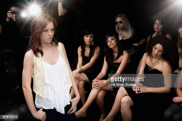 model on runway in fashion show - fashion show stock pictures, royalty-free photos & images
