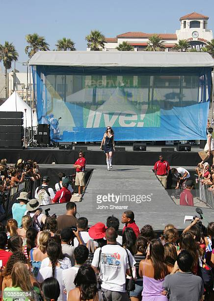 Model on stage at the Teen Vogue Fashion Live party on the beach fashion show on July 26 2007 in Huntington Beach California
