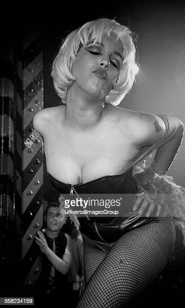 A model on the catwalk at Flesh the gay night in the Hacienda Manchester 1989