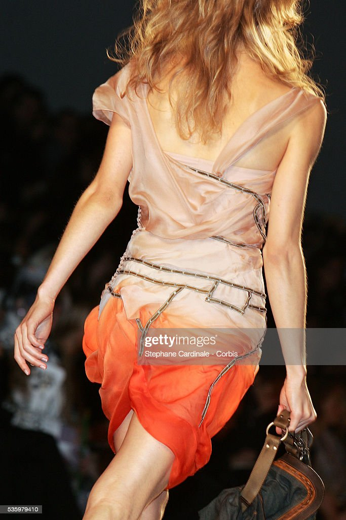 Model on the catwalk at the Christian Dior ready-to-wear Spring-Summer 2006 fashion show.