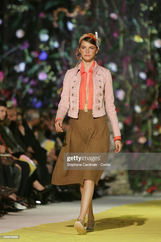 Model on the catwalk at the 'Christian Lacroix ready-to-wear spring-summer 2006 collection' fashion show.