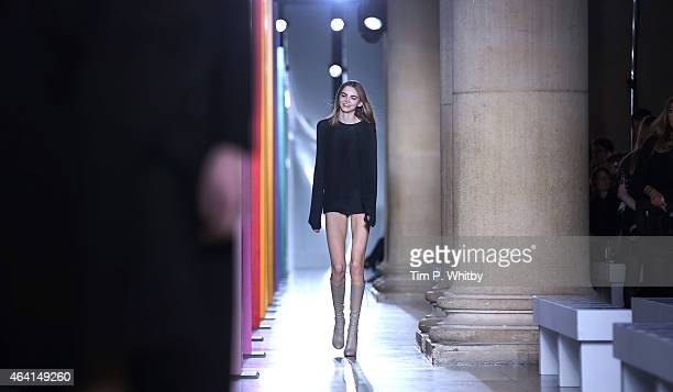 A model on the catwalk during a rehearsal before the Jonathan Saunders show during London Fashion Week Fall/Winter 2015/16 at TopShop Show Space on...