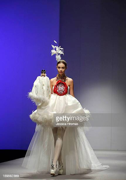 A model on the catwalk during the Andy Ho show during day 3 of Hong Kong Fashion Week A/W 2013 in Hong Kong