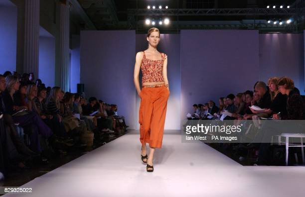 A model on the catwalk during the London Fashion Week Spring/Summer 2005 show by designer Nicole Farhi held at Banqueting House in Whitehall central...
