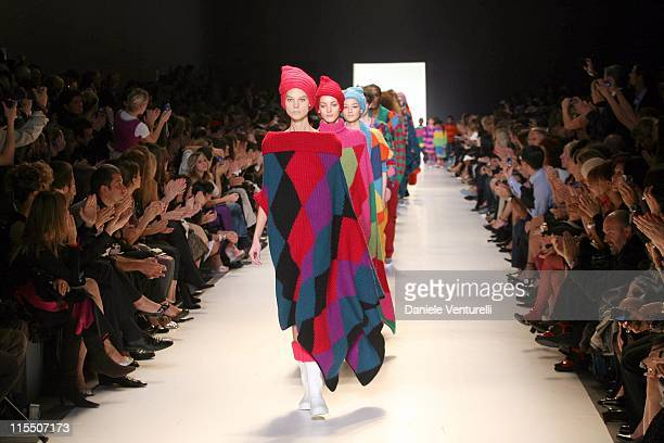 Model on the catwalk during United Colors of Benetton 40th Anniversary Fashion Show at Centre Pompidou in Paris France