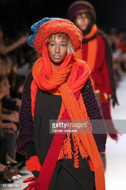 b8c9914ad1aa Model on the catwalk during United Colors of Benetton 40th Anniversary  Fashion Show at Centre Pompidou