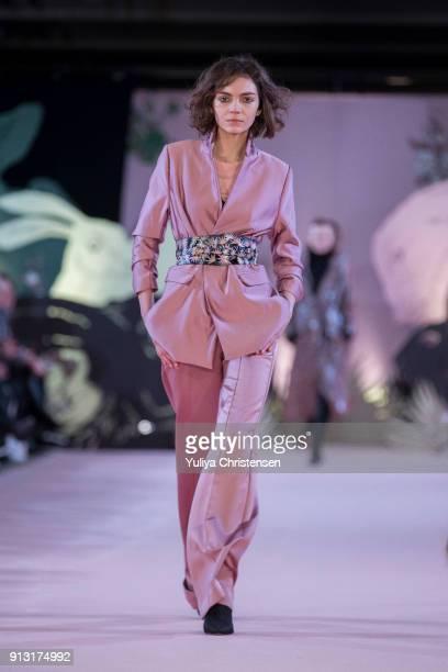A model on the catwalk for Munthe during the Copenhagen Fashion Week Autumn/Winter 18 on February 1 2018 in Copenhagen Denmark