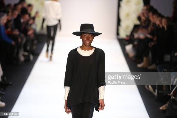 A model on the catwalk for the collection of the designer Maisonnee during the MercedesBenz Fashion Week