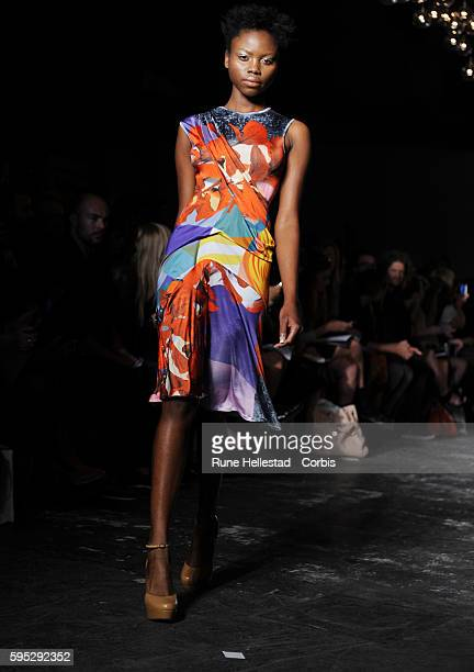Model on the runway at Basso Brooke's Spring/Summer 2012 fashion show at London Fashion Week