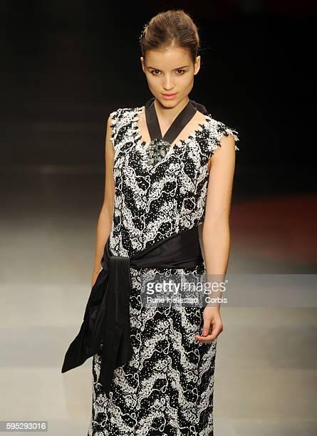 Model on the runway at Caroline Charles' Spring/Summer 2012 fashion show at London Fashion Week