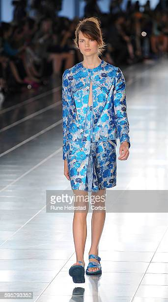 Model on the runway at Christopher Kane's Spring/Summer 2012 fashion show at London Fashion Week