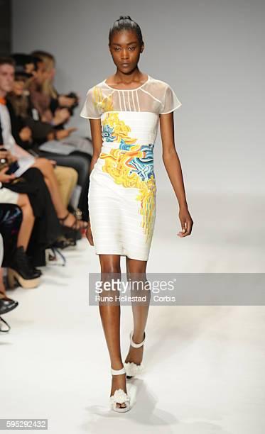 Model on the runway at Emilio De La Morena's Spring/Summer 2012 fashion show at London Fashion Week