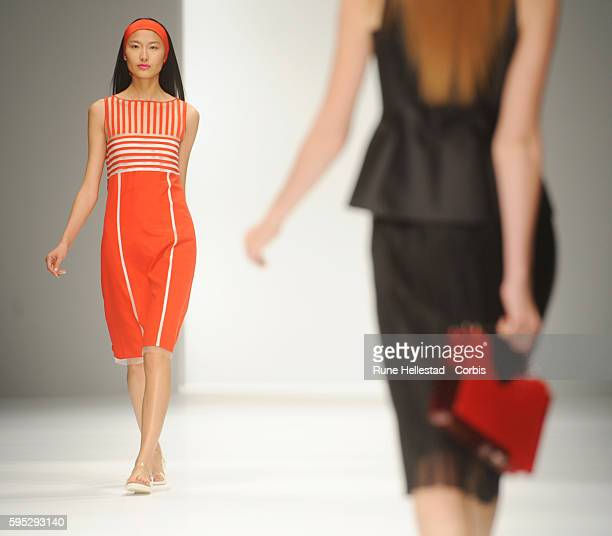 Model on the runway at Jasper Conran's Spring/Summer 2012 fashion show at London Fashion Week