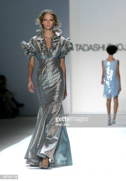 Model on the runway at Mercedes-Benz Fashion Week Spring 2008 - Tadashi Shoji Show on September 12, 2007 at the Tents at Bryant Park in New York City.