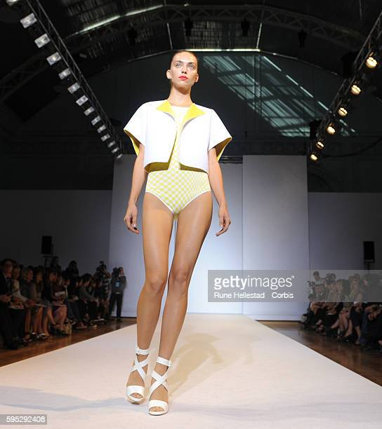 Model on the runway at Nicole Farhi's Spring/Summer 2012 fashion show at London Fashion Week
