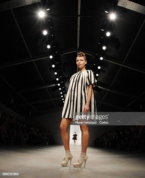Model on the runway at Paul Costelloe's Spring/Summer 2012 fashion show at London Fashion Week