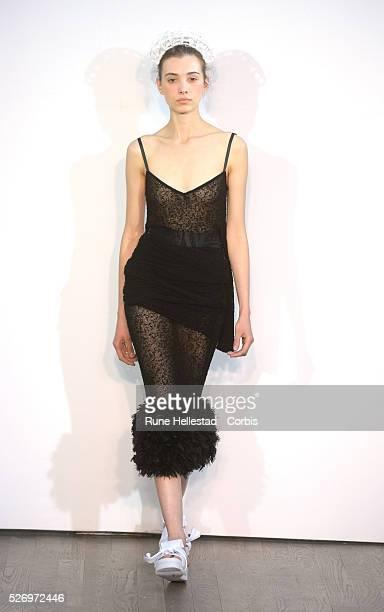 Model on the runway at Teatum Jones's Spring/ Summer 2016 fashion show at London Fashion Week.