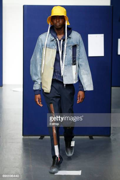 A model on the runway at the A Cold Wall* Presentation during the London Fashion Week Men's June 2017 collections on June 12 2017 in London England