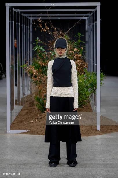 Model on the runway at the Holzweiler show during the Copenhagen Fashion Week Autumn/Winter 2020 on January 29, 2020 in Copenhagen, Denmark.