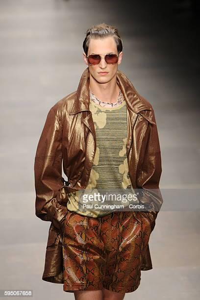 Model on the runway at the James Long New Generation Spring Summer fashion show during London Fashion Week. September 2011
