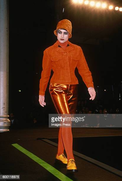 A model on the runway at the Jean Paul Gaultier Fall 1989 fashion show circa 1989 in Paris France