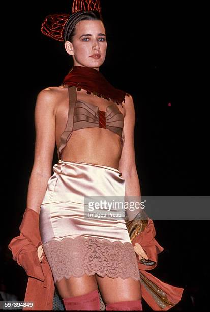 A model on the runway at the Jean Paul Gaultier Spring 1989 fashion show circa 1988 in Paris France
