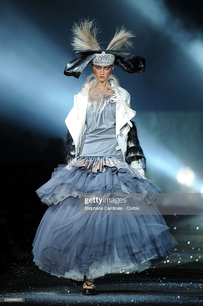 A model on the runway at the John Galliano Ready To Wear show, as part of the Paris Fashion Week Fall/Winter 2010-2011.