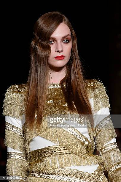Model on the runway at the Kristian Aadnevik Autumn Winter fashion show during London Fashion Week AW 2015 The Royal Horseguards London 22 February...