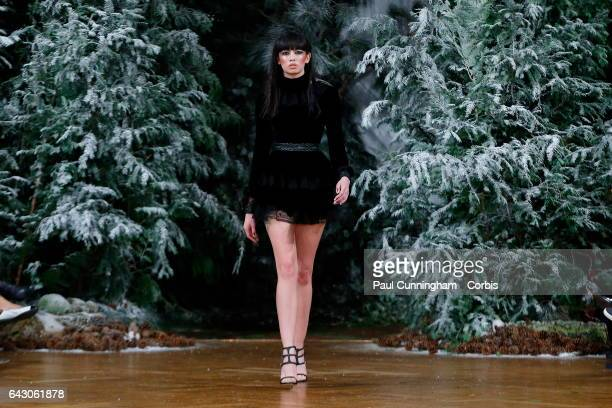 A model on the runway at the Kristian Aadnevik show during the London Fashion Week February 2017 collections on February 19 2017 in London England
