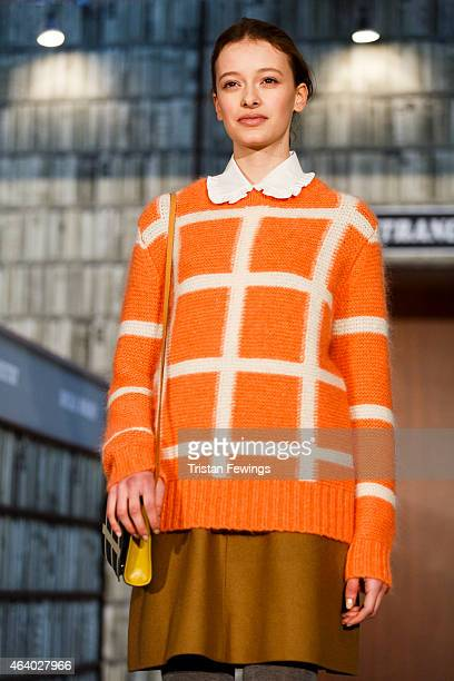 A model on the runway at the Orla Kiely presentation during London Fashion Week Fall/Winter 2015/16 at The Vinyl Factory Gallery on February 21 2015...
