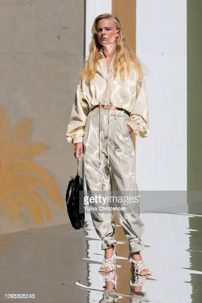 Model on the runway at the Remain Birger Christensen presentation during the Copenhagen Fashion Week Spring/Summer 2021 on August 11, 2020 in...