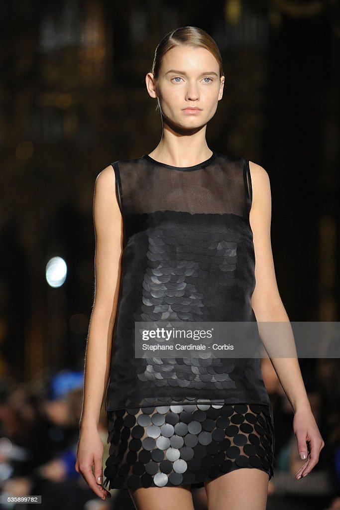 A model on the runway at the Stella McCartney Ready To Wear show, as part of the Paris Fashion Week Fall/Winter 2010-2011.