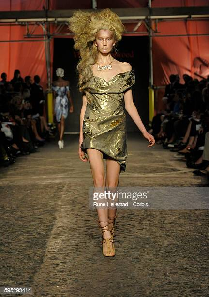 Model on the runway at Vivienne Westwood's Spring/Summer 2012 fashion show at London Fashion Week