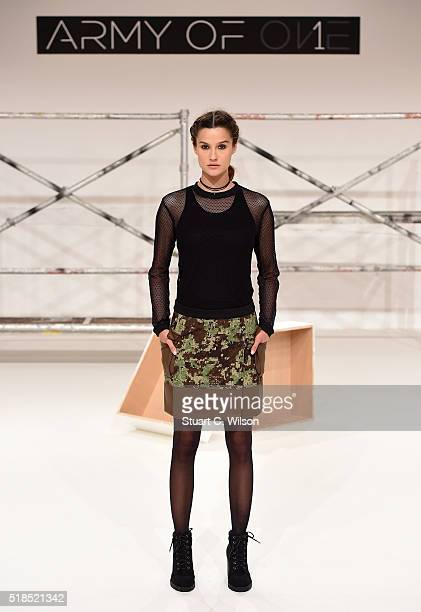 A model on the runway during the Army of 1 Presentation at Fashion Forward Fall/Winter 2016 held at the Dubai Design District on April 1 2016 in...