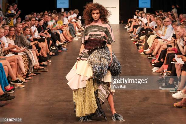 A model on the runway during the Designers Nest show at Copenhagen Fashion Week Spring/Summer 2019 on August 7 2018 in Copenhagen Denmark
