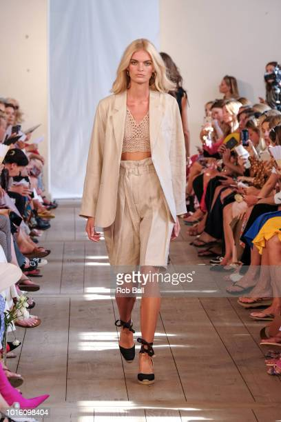 A model on the runway during the Lovechild show during Copenhagen Fashion Week Spring/Summer 2019 on August 9 2018 in Copenhagen Denmark