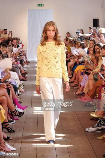 A model on the runway during the Lovechild show during Copenhagen Fashion Week Spring/Summer 2019 on August 9 2018 in Copenhagen Denmark