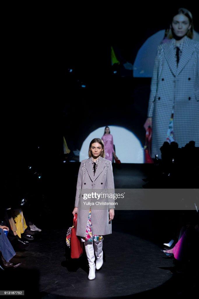 A model on the runway for Baum And Pferdgarten during the Copenhagen Fashion Week Autumn/Winter 18 on February 1, 2018 in Copenhagen, Denmark.