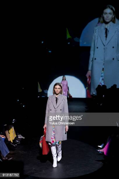 A model on the runway for Baum And Pferdgarten during the Copenhagen Fashion Week Autumn/Winter 18 on February 1 2018 in Copenhagen Denmark