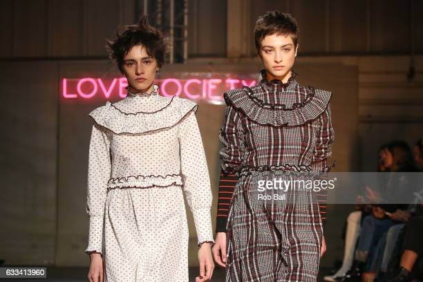 Model on the runway for Danish designer Ganni during the Copenhagen Fashion Week Autumn/Winter 17 on February 1, 2017 in Copenhagen, Denmark.