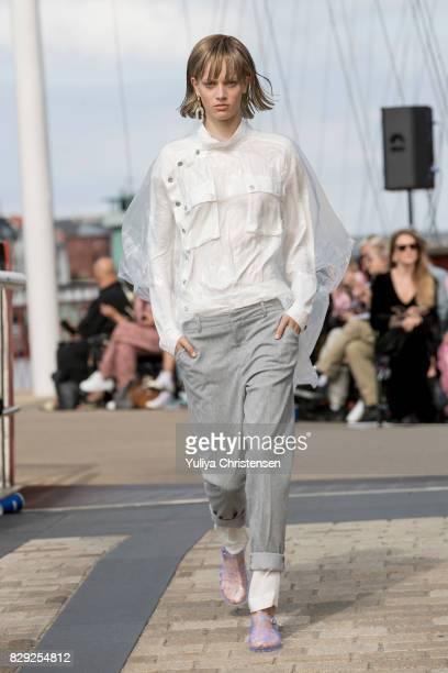 A model on the runway for designer Designers Remix the Copenhagen Fashion Week Spring/Summer 2018 on August 10 2017 in Copenhagen Denmark